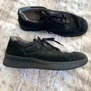Ecco Black Suede Sneakers Comfort Trainers Shoes